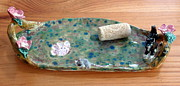 Mouse Ceramics - cat and mouse tray with dogwood flowers hand built in USA  by Debbie Limoli