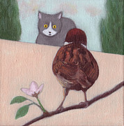 White Moon Studio Framed Prints - Cat and Sparrow  Framed Print by Kazumi Whitemoon