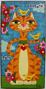 Cats Originals - Cat and Three Yellow Birds by LuLu Mypinkturtle