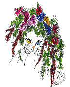British Portraits Drawings Prints - Cat Bouquet I Print by Elia Peters
