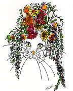 Easter Flowers Drawings Posters - Cat Bouquet II Poster by Elia Peters