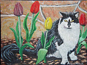 Carey MacDonald - Cat by the tulips