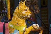 Saddle Metal Prints - Cat carrousel ride Metal Print by Garry Gay