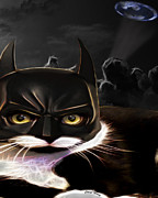 Caped Crusader Prints - Cat Crusader Print by Cheryl Young