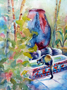 Key West Paintings - Cat Drinking Fountain by Carolyn Jarvis