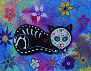 Cool Cats Paintings - Cat El Gato Dia De Los Muertos by Pristine Cartera Turkus
