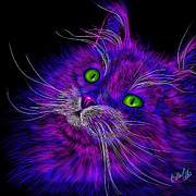 Eyes Framed Prints Prints - Cat Electric Print by Billie Jo Ellis