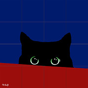Dressing Room Digital Art Posters - Cat Eyes Poster by Roby Marelly