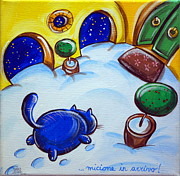 Cat Paw Posters - Cat Footprints In The Snow Poster by Raffaella Di Vaio