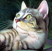 Jaxine Cummins Pastels Posters - Cat Friendly Poster by JAXINE Cummins