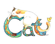 Calligraphy Drawings Prints - Cat Illuminated Print by CarrieAnn Reda