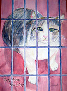 Cage Paintings - Cat in a Cage by Gulsen Beasley