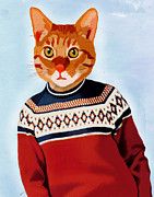 Winter Posters Posters - Cat in a Ski Jumper Poster by Kelly McLaughlan