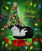 Cat In Christmas Tree Hat Print by Carol Cavalaris