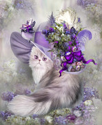 Whimsical Cat Art Framed Prints - Cat In Easter Lilac Hat Framed Print by Carol Cavalaris