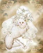 White Cat Art Mixed Media - Cat In Fancy Bridal Hat by Carol Cavalaris