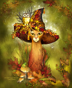 Funny Cat Framed Prints - Cat In Fancy Witch Hat 3 Framed Print by Carol Cavalaris