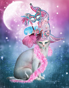 Cat Art Mixed Media Metal Prints - Cat In Fancy Witch Hat 4 Metal Print by Carol Cavalaris