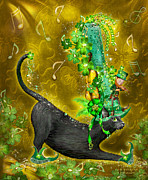 Leprechaun Posters - Cat In Irish Jig Hat Poster by Carol Cavalaris
