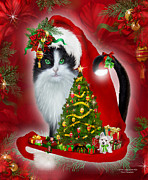 Tree Art Print Mixed Media - Cat In Long Santa Hat by Carol Cavalaris