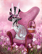 Crazy Mixed Media Prints - Cat In Mad Hatter Hat Print by Carol Cavalaris