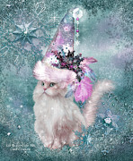 Whimsical Cat Art Framed Prints - Cat In Snowflake Hat Framed Print by Carol Cavalaris