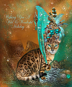 Feral Prints - Cat In The Leopard Trim Santa Hat Print by Carol Cavalaris