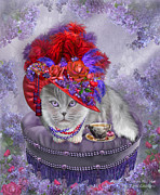 Hats Print Posters - Cat In The Red Hat Poster by Carol Cavalaris