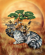 Serengeti Art Framed Prints - Cat In The Safari Hat Framed Print by Carol Cavalaris