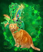 Irish Mixed Media Framed Prints - Cat In The Shamrock Hat Framed Print by Carol Cavalaris