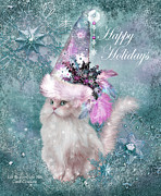 Holiday Art Prints - Cat In The Snowflake Santa Hat Print by Carol Cavalaris