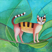 Tree Lines Painting Posters - Cat in the Tree Poster by Jutta Maria Pusl