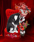 Heart Print Posters - Cat In The Valentine Steam Punk Hat Poster by Carol Cavalaris