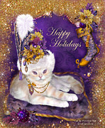 Holiday Art Prints - Cat In Victorian Santa Hat Print by Carol Cavalaris