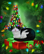 White Cat Art Mixed Media - Cat In Xmas Tree Hat by Carol Cavalaris