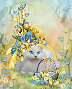 Whimsical Cat Art Framed Prints - Cat In Yellow Easter Hat Framed Print by Carol Cavalaris