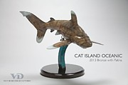 Shark Sculptures - Cat Island Oceanic by Victor Douieb