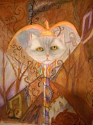 Jester Mixed Media Framed Prints - Cat Jester Framed Print by Marian Hebert