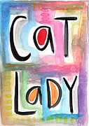 Purple Framed Prints - Cat Lady Framed Print by Linda Woods