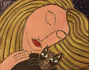 Cynthia Snyder Prints - Cat Love Print by Cynthia Snyder