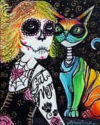 Sugar Skull Paintings - Cat Mom by Laura Barbosa