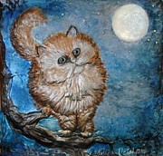 Moonlit Night Mixed Media Framed Prints - Cat Moon Crystal NIght Framed Print by Arlene Delahenty