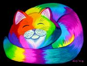 Rainbow Drawings Prints - Cat Napping 2 Print by Nick Gustafson