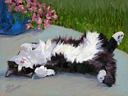 Tuxedo Cat Painting Framed Prints - Cat on a Hot Day Framed Print by Alice Leggett