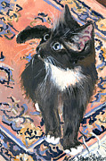 Alice Grimsley Metal Prints - Cat On A Rug Metal Print by Alice Grimsley