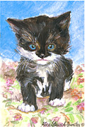 Alice Grimsley Metal Prints - Cat On Bedspread Metal Print by Alice Grimsley
