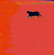 Humorous Greeting Cards Originals - Cat On Lava by Joe JAKE Pratt