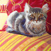 Robie Benve Prints - Cat on Red Chair Print by Robie Benve