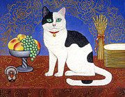 Black And White Cats Paintings - Cat on Table by Linda Mears