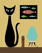 Mid Century Lamp Prints - Cat on Tabletop 2 Print by Donna Mibus
